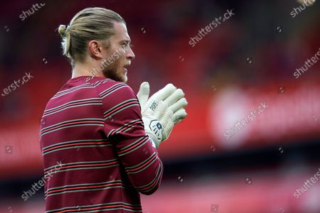 Loris Karius of Liverpool detail of Liverpool's stadium during the pre-season friendly match between Liverpool FC and CA Osasuna at Anfield on August 9, 2021 in Liverpool, England.