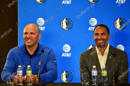 Jason Kidd (L) Head Coach of NBA Dallas Mavericks and Michael Finley (R) Vice President of Basketball Operations in NBA League taliking in Luka Doncic Press Conference. Luka Doncic agrees to sign $207 million new five years contract with Dallas Mavericks.