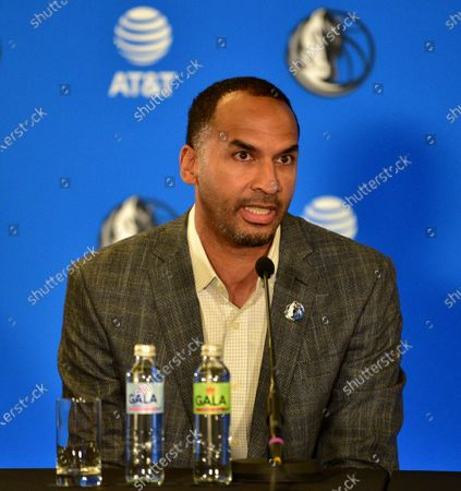 Stock Picture of Michael Finley (C) Vice President of Basketball Operations in NBA League taliking in Luka Doncic Press Conference. Luka Doncic agrees to sign $207 million new five years contract with Dallas Mavericks.