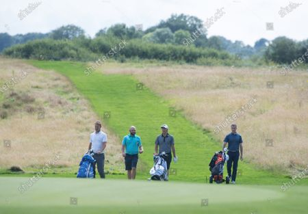 Stock Image of Andy Sullivan, Anton Du Beke, Lee Dixon and Teddy Sheringham during the Cazoo Classic Celebrity Pro-Am at The London Club, kent