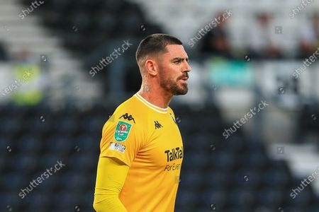Tom King (1) of Salford City during the EFL Cup match between Derby County and Salford City at the Pride Park, Derby