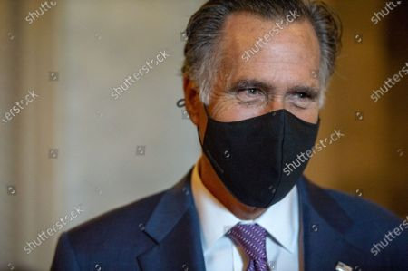 Sen. Mitt Romney, R-UT, leaves the Senate chambers after final passage of $1.2 trillion infrastructure bill at the US Capitol in Washington, DC., on Tuesday, August 10, 2021.