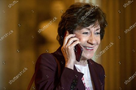 Sen. Susan Collins, R-ME, leaves the Senate chambers after final passage of $1.2 trillion infrastructure bill at the US Capitol in Washington, DC., on Tuesday, August 10, 2021.