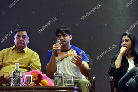 Tokyo 2020 Olympics gold medalist and javelin thrower Neeraj Chopra with former Olympian Anju Bobby George during the press conference at Hotel Taj Palace on August 10, 2021 in New Delhi, India.