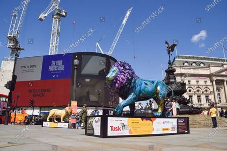 Lion sculpture by Noel Fielding seen in Piccadilly Circus, part of the Lion Trail from the wildlife conservation organisation Tusk.  Life-size lion sculptures, designed by famous artists, musicians and comedians, are exhibited around London to raise awareness of the threats faced by lions and to raise funds for conservation and livelihoods impacted by COVID-19 in Africa.