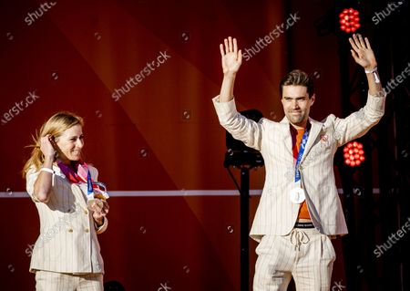 Annemiek van Vleuten and Tom Dumoulin during the ceremony of the TeamNL athletes of the Olympic Games 2020 on the sports beach of Scheveningen.