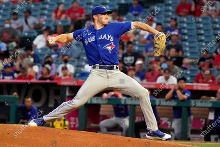 Toronto Blue Jays starting pitcher Ross Stripling throws to a Los Angeles Angels during the first inning in the second baseball game of a doubleheader, in Anaheim, Calif