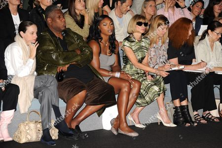 Guest, Andre Leon Talley, Serena Williams, Anna Wintour, Virginia Smith and Grace Coddington