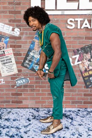 Allen Maldonado poses on the red carpet prior to the premiere of the Starz television series 'Heels' in Los Angeles, California, USA, 10 August 2021. The wrestling drama will premiere worldwide on 15 August 2021.