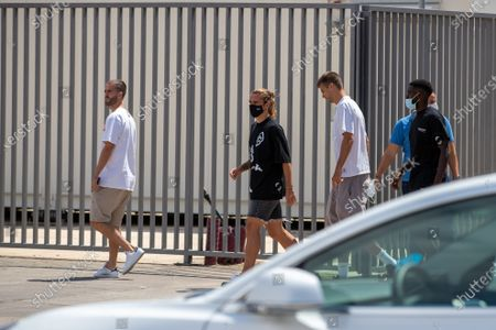 Miralem Pjanic, Antoine Griezmann, Gerard Pique and Samuel Umtiti arrives to Lionel Messi farewell press conference at Auditori 1899 at Camp Nou Stadium in Barcelona, Spain on August 8, 2021.