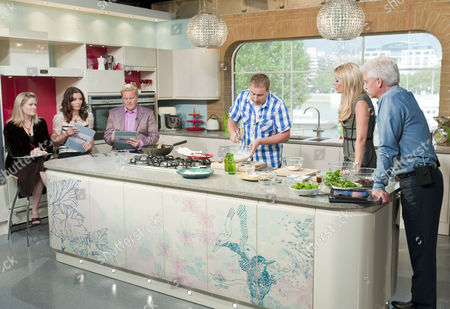 Stock Picture of Borra Garson, Tana Ramsay, Olly Smith, Tarrant Ablett with Phillip Schofield and Holly Willoughby