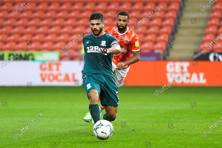 Middlesbrough midfielder Sam Morsy (5) passes the ball during the EFL Cup match between Blackpool and Middlesbrough at Bloomfield Road, Blackpool