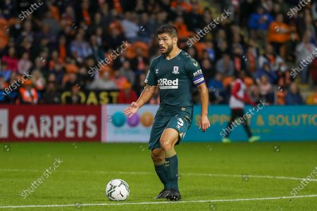 Middlesbrough midfielder Sam Morsy (5) looking for a pass during the EFL Cup match between Blackpool and Middlesbrough at Bloomfield Road, Blackpool