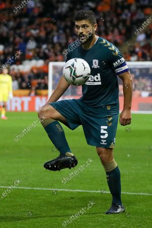 Stock Image of Middlesbrough midfielder Sam Morsy (5) controls the ball during the EFL Cup match between Blackpool and Middlesbrough at Bloomfield Road, Blackpool