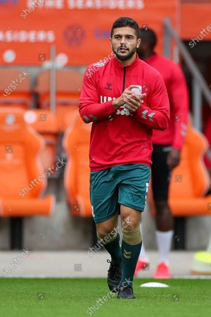 Middlesbrough midfielder Sam Morsy (5) in the pre match warm up during the EFL Cup match between Blackpool and Middlesbrough at Bloomfield Road, Blackpool