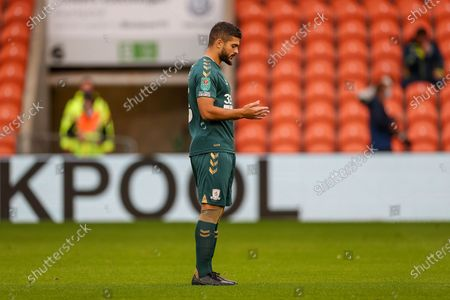 Stock Photo of Middlesbrough midfielder Sam Morsy (5) during the EFL Cup match between Blackpool and Middlesbrough at Bloomfield Road, Blackpool