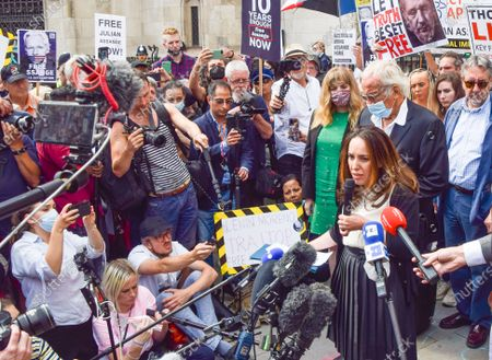 Assange's partner Stella Moris speaks to the media outside the Royal Courts of Justice, where the preliminary hearing for the US appeal against the decision not to extradite WikiLeaks founder Julian Assange took place.