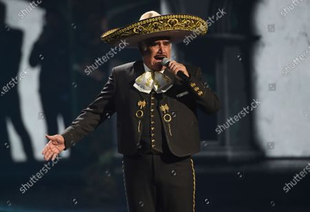 Vicente Fernandez performs a medley at the 20th Latin Grammy Awards on Nov. 14, 2019, in Las Vegas. The 81-year-old king of ranchera music is in critical but stable condition after being hospitalized for a fall last week, according to an Instagram post made by his medical team on