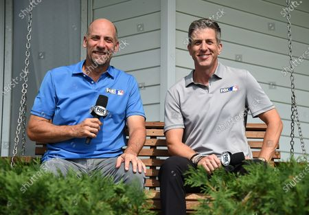 Stock Image of Fox Sports announcers John Smoltz and Kevin Burkhardt at the MLB Field of Dreams