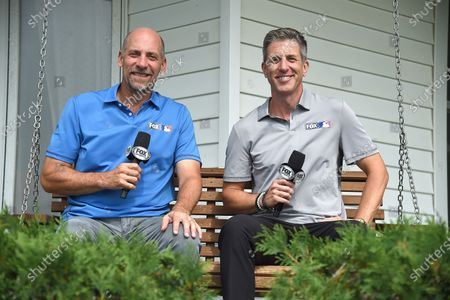 Fox Sports announcers John Smoltz and Kevin Burkhardt at the MLB Field of Dreams