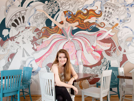 Editorial picture of Artist, Lizzie Mary Cullen at  Zizzi restaurant, Covent Garden, London, Britain - 23 Aug 2010