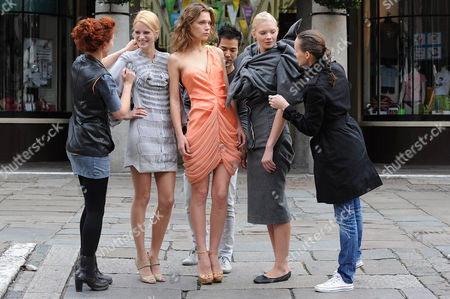 Models, Sophie Holmes, Kasey and Daria Zhemkova with designers Alice Palmer, Jade Kang and Corrie Nielsen.