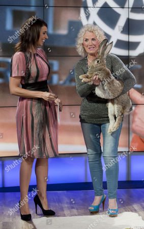 Christine Bleakley with Annette Edwards and Amy the Giant Rabbit