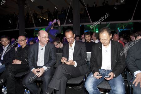 L-R  John Wang CMO, Horace Luke CIO, Florian Seiche and Patricce Choriet (Vodephone) and Peter Chou CEO and President of HTC