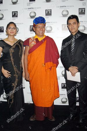 His Holiness the 12th Gyalwang Drukpa and Aamir Khan and wife