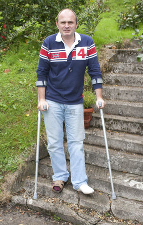 Editorial photo of Major Charles Ingram at home where he cut off his toes whilst using a flymo in his garden, Wiltshire, Britain - 17 Sep 2010