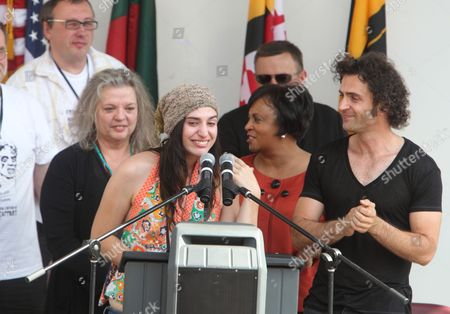 Diva Zappa, daughter of Frank Zappa, thanks fans after the statue dedication to her father in Baltimore