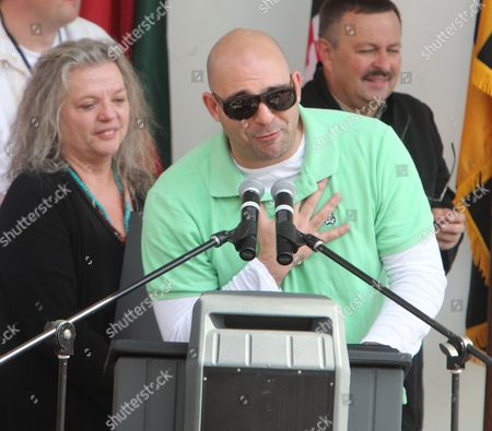 Ahmet Zappa, son of Frank Zappa, with his mother Gail, thanks fans after the statue dedication of his father Frank in Baltimore