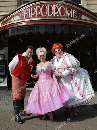 Andy Ford as 'Idle Jack', Barbara Windsor as 'Fairy Bowbells' and Eric Potts as 'Sarah The Cook'