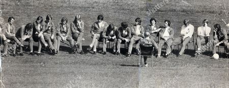 England Football Team. L-r: Bobby Moore (obscured) Peter Madeley Martin Chivers Martin Peters Allan Clarke Alan Ball Tony Currie Norman Hunter Emlyn Hughes David Nish Colin Todd Ray Clemence