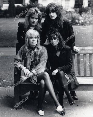 The Bangles. Back Row L-r: Vicki Peterson Michael Steele. Front Row L-r: Debbie Peterson Susanna Hoffs