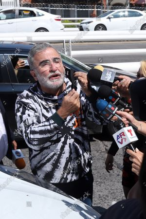 Stock Image of Vicente Fernandez Jr speaks to the media, outside the Hospital Country 2000, in Guadalajara, Jalisco, Mexico, 12 August 2021. The singer of ranchera music Vicente Fernandez responds well to medical treatment although he remains in serious condition after having suffered a fall in Guadalajara (western Mexico), his son Vicente Fernandez junior reported this 12 August.