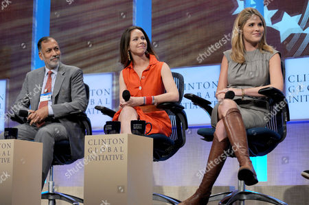 Stock Picture of Rizwan Khan, Barbara Pierce Bush and Jenna Bush