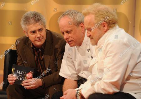 Nick Hancock with Chef's John Burton Race and Antony Worrall Thompson