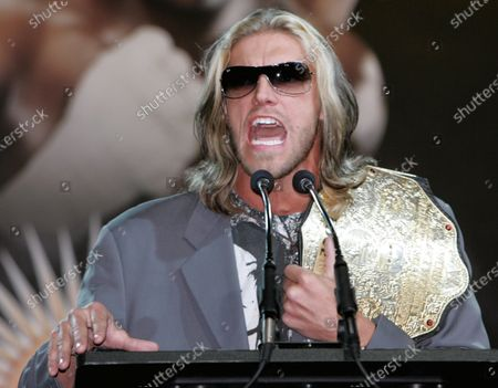 Pro wrestler Adam Copeland, who goes by the name Edge, speaks during the Wrestlemania XXIV press conference held at the Hard Rock Cafe on March 26, 2008 in New York. Edge is part of the line up of fighters participating in the pro wrestling event to be held in Orlando, Florida on March 30.