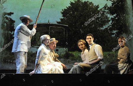 'Birdsong' - Iain Mitchell (Berard), Genevieve O'Reilly (Isabelle), Nicholas Farrell (Rene), Florence Hall (Lisette), Ben Barnes (Stephen) and Annabel Topham (Marguerite)