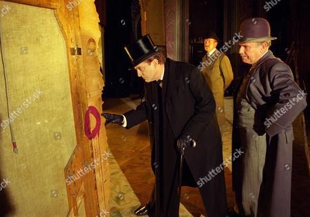 The Red Circle -  Edward Hardwicke as Doctor Watson and Jeremy Brett as Sherlock Holmes with Tom Chadbon as Inspector Hawkins.