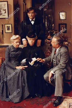 Stock Picture of The Red Circle -  Edward Hardwicke as Doctor Watson, Jeremy Brett as Sherlock Holmes, Betty Marsden as Mrs Warren and Rosalie Williams as Mrs Hudson.
