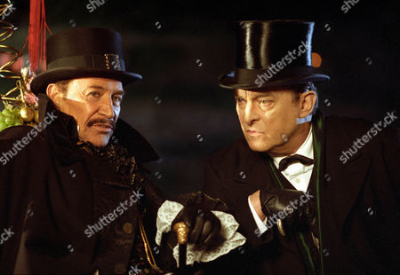Stock Photo of The Three Gables -  Peter Wyngarde as Langdale Pike and Jeremy Brett as Sherlock Holmes.