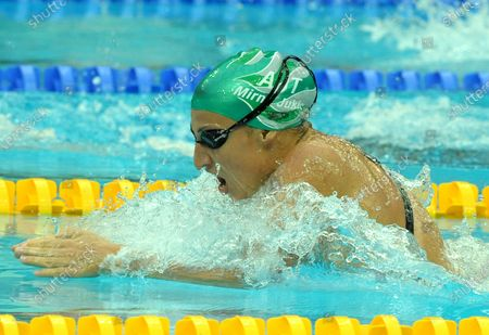 Austria's Mirna Jukic qualifies second in the Women's 200M Breaststroke at the National Aquatic Center (Water Cube) during the 2008 Summer Olympics in Beijing, China, on August 14, 2008.