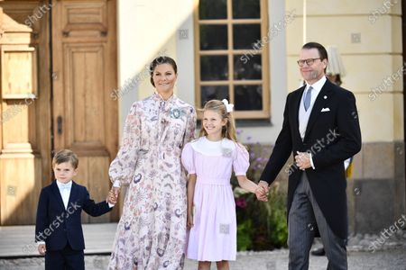 Crown Princess Victoria, Prince Oscar, Princess Estelle och Prince Daniel after the Christening ceremony of Prince Julian