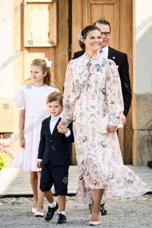 Crown Princess Victoria, Prince Oscar, Princess Estelle och Prince Daniel after the Christening ceremony of Prince Julian at Drottningholm Palace Chapel