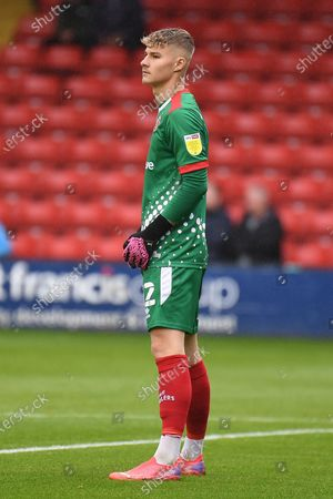 Walsall goalkeeper (on loan from Brighton and Hove Albion) Carl Rushworth (12) during the EFL Sky Bet League 2 match between Walsall and Forest Green Rovers at the Banks's Stadium, Walsall