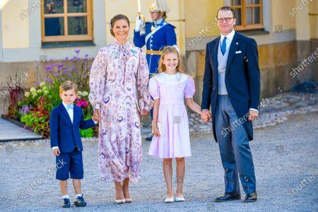 Crown Princess Victoria, Prince Daniel, Princess Estelle and Prince Oscar of Sweden attending the christening Prince Julian of Sweden at Drottningholms slott in Ekero, Sweden.