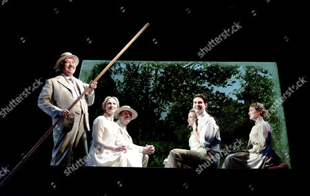 l-r: Iain Mitchell (Berard), Genevieve O'Reilly (Isabelle Azaire), Nicholas Farrell (Rene Azaire), Florence Hall (Lisette Azaire), Ben Barnes (Stephen Wraysford) and Annabel Topham (Marguerite)
