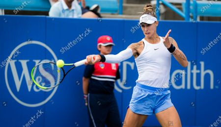 Polona Hercog of Slovenia in action during qualifications at the 2021 Western & Southern Open WTA 1000 tennis tournament